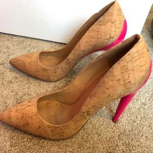L.A.M.B. Cork and Hot Pink L Jocelyn Pumps